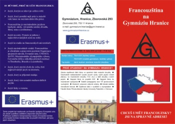 Erasmus Plus - Francouzština na Gymnáziu Hranice
